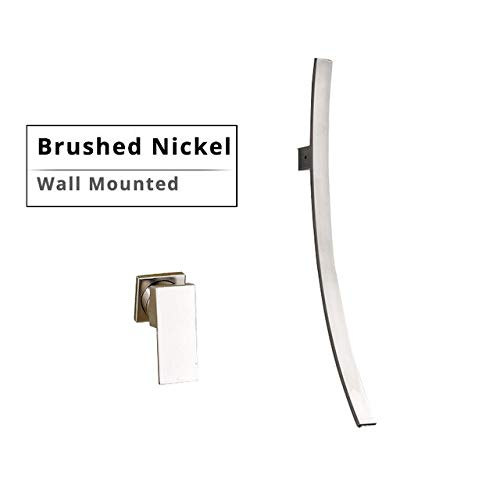 BDWS Montado en la pared 70 cm Cascada Caño Grifo de lavabo Mezclador de baño cromado de una manija Lavabo oculto Lavabo de pared Israel Níquel cepillado