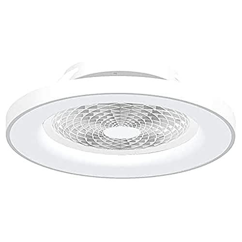Mantra Iluminación. Modelo TIBET. Ventilador y plafón de techo de 65 cm de diámetro en color blanco. Fuente de luz LED 70W 2700K-5000K 3900lm. Ventilador 35W