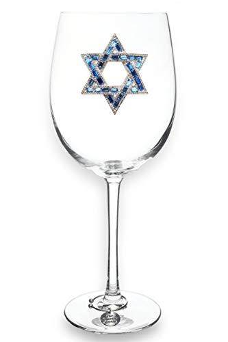 THE QUEENS' JEWELS Star of David Jeweled Stemmed Wine Glass - Unique Gift for Women, Birthday, Cute, Fun, Hanukkah, Not Painted, Decorated, Bling, Bedazzled, Rhinestone