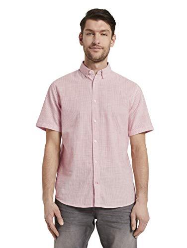 TOM TAILOR Herren Ray Streifen Hemd, 23272-orange White Stripe, M