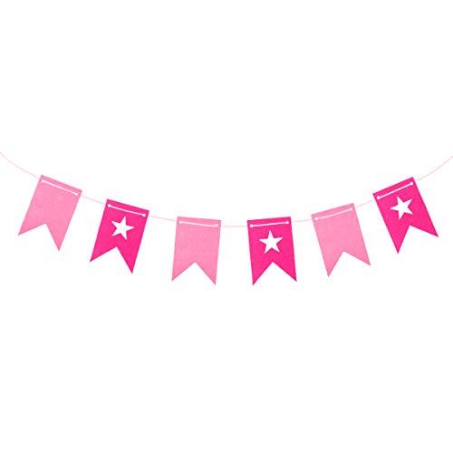 Amosfun Bandera Colgante de Cumpleaños Banderines de Estrellas para La Habitación Del Bebé Decoración de Guirnaldas de Fiesta de Guardería 3 Metros (Rosa)