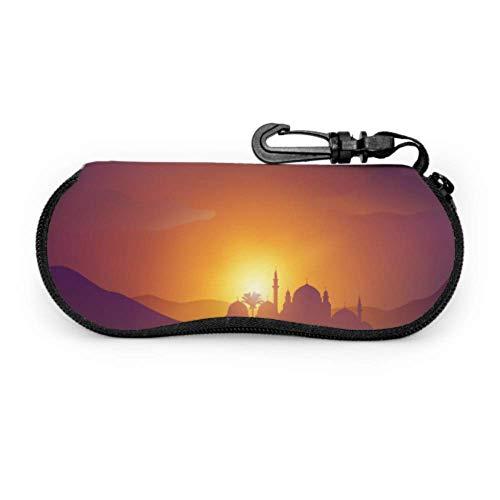 WDDHOME Wüste arabische Landschaft Moschee arabischen Kamel Multi Sonnenbrille Fall weiche Brillenetuis für Frauen Licht tragbare Neopren Reißverschluss weiche Fall Spaß Brillenetui