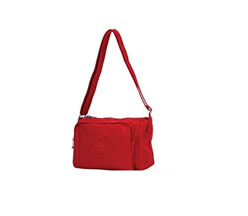 Ciak Roncato Borsa donna Tracolla Rosso Rossa in nylon morbida impermeabile cm 24x19x10,5
