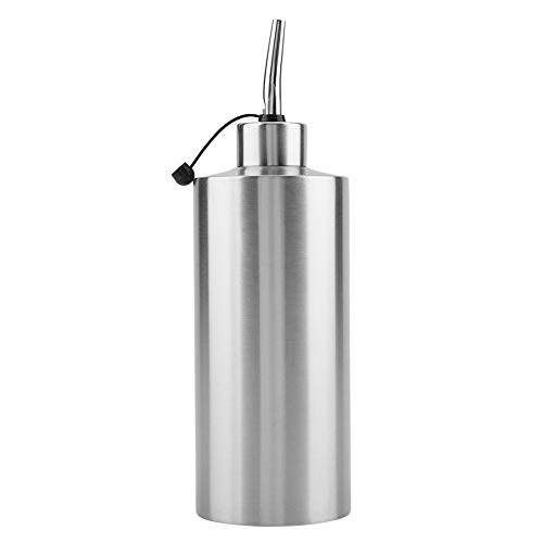 550 ML Dispensador de aceite, Botella de aceite de acero inoxidable Vinagre Salsa Dispensador Contenedor Aceite Pot para uso de la cocina(A)