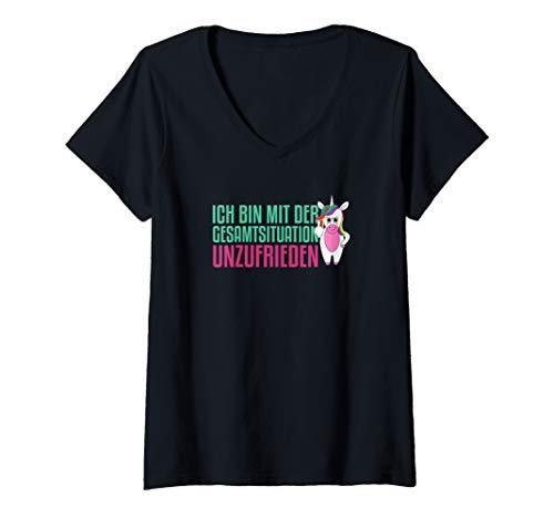 Damen Ich bin mit der Gesamtsituation unzufrieden T-Shirt mit V-Ausschnitt