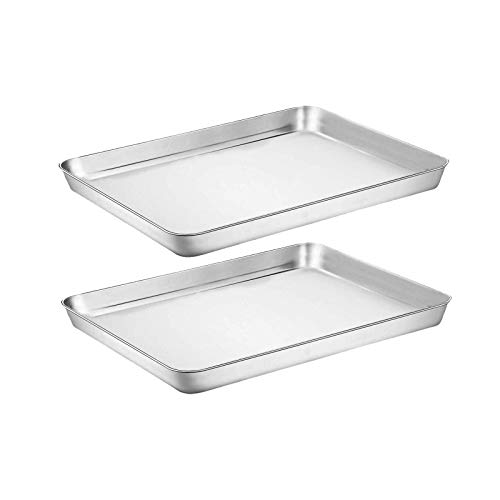 Baking Sheet Cookie Sheet Set of 2, Umite Chef Stainless Steel Baking Pans Tray Professional 9 inch, Non Toxic & Healthy, Mirror Finish & Rust Free, Easy Clean & Dishwasher Safe