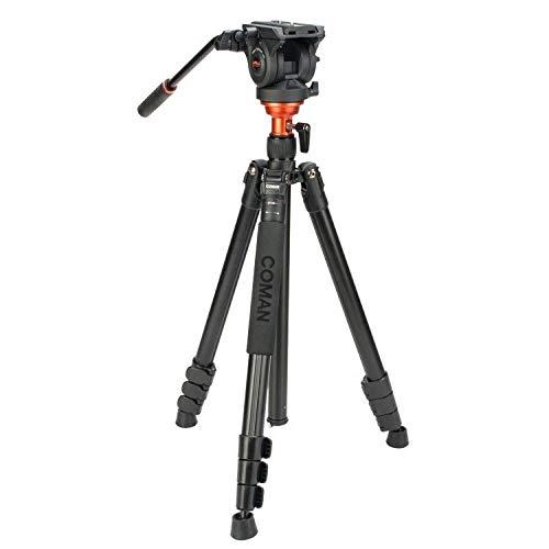 Coman DF06 video/fotostatief met Q5 kop - tot 1,8 m hoog - tot 6 kg belastbaar - vloeibaar gedempt - basis oprichtbaar - aluminium