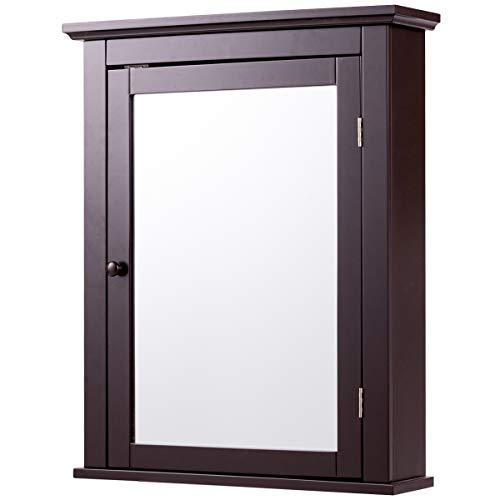 Tangkula Bathroom Cabinet, Mirrored Wall-Mounted Storage Medicine Cabinet, Cabinet with Single Door -