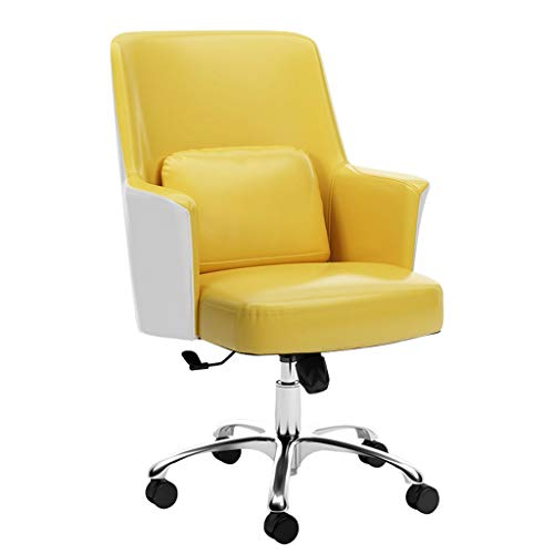 ZJH Office Chair Modern Minimalist Office Chair Home Computer Chair Backrest Ergonomic Office Chair Lift Rotating Study Office Chair Computer Chair (Color : Yellow)