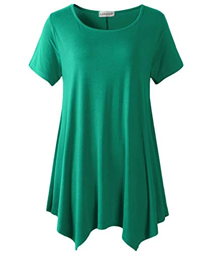LARACE Womens Swing Tunic Tops Loose Fit Comfy Flattering T Shirt Deep Green