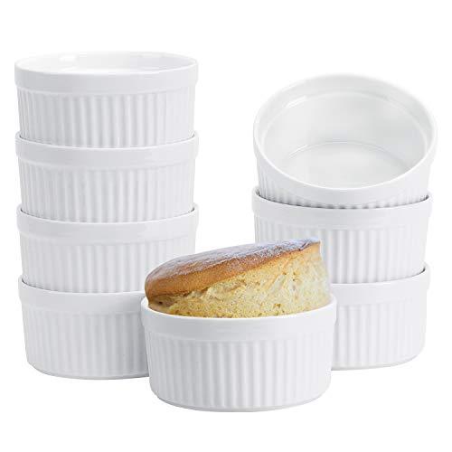 Porcelain Ramekins,Set of 8(8OZ White),Souffle Dishes,Oven Safe Round Ceramic Bowls Serving For Creme Brulee, Custard, Lava Cakes, Pudding, Flan, Mini Desserts, Jam and Ice Cream, Ramekins For Baking