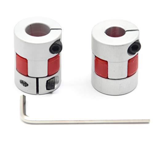 Befenybay 2PCS 8mm to 10mm Aluminium Plum Flexible Shaft Coupling Diameter 20mm Length 25mm Connector Flexible Coupler for 3D Printer CNC Machine and Servo Stepped Motor(8x10mm)