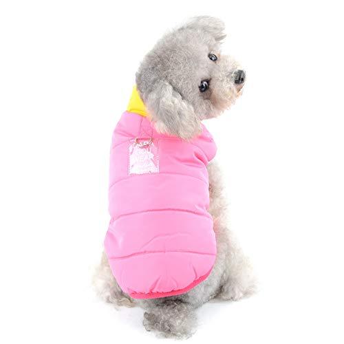 SELMAI Hundemantel Winter Kleine Hunde Yorkshire Terrier Kleidung für Chihuahua Hundeweste Winterjacke mit Geschirr Winddichtes Alpiner Ski Parka der Sport im Freien Spielt Rosa S