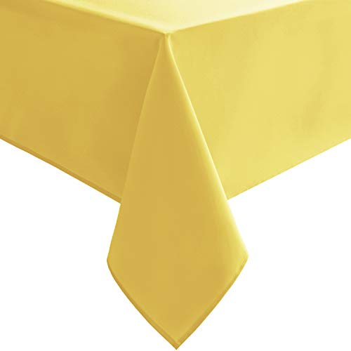 Hiasan Yellow Square Tablecloth - Spillproof and Waterproof Washable Table Cloth for Dining Room Kitchen Camping, 54 x 54 Inch