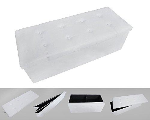 Todeco - Almacenamiento Banco, Almacenamiento Otomano Plegable de Cuero - Carga máxima: 150 kg - Material: Imitación de Cuero - Acabado Cosido y copetudo, 110 x 38 x 38 cm, Blanco