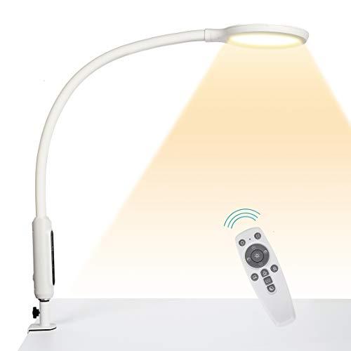 Hokone Lámpara de Escritorio LED Lámpara de Abrazadera de cuello de cisne Lámpara de Arquitecto de brazo giratorio que atenúa , Lámpara de Mesa de oficina con control táctil, 18 W blanco