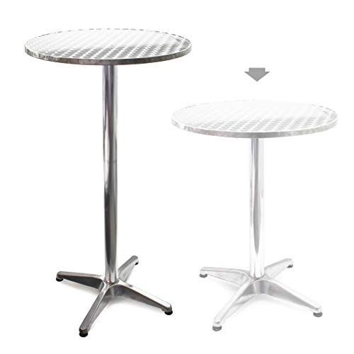Mesa de bar Bistro Aluminio Altura regulable 70cm o 110cm Ø 60 cm Ideal exterior Terraza Hostelería ✅