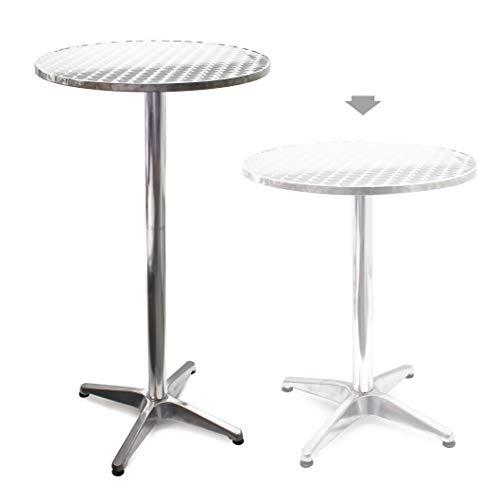 Mesa de bar Bistro Aluminio Altura regulable 70cm o 110cm Ø 60 cm Ideal exterior Terraza Hostelería
