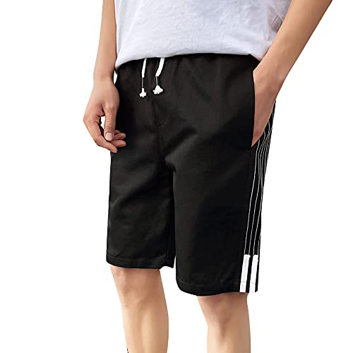 Katenyl Pantalones Cortos de Talla Grande a Rayas con Costuras para Hombre Tendencia Suelta Ropa de Calle de Todo Partido Moda Casual Pantalones Cortos Rectos de Cintura Media 3XL