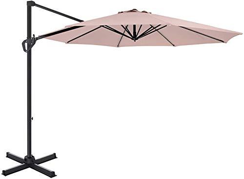 ZXL Garten Sonnenschirm-Regenschirm, Freiarmschirm Drehung um 360 Grad Winkeleinstellung Außenmarkt Gartenschirm - Beige
