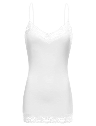 Simlu Lace Camis Cotton Camisole Cami Tank Top Lace Layering Tank Top for Women,XX-Large,301. White