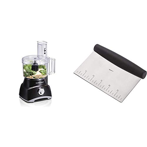 Hamilton Beach 8-Cup Compact Food Processor & Vegetable Chopper for Slicing, Shredding, Mincing, and puree, 450 Watts, Black (70740) & AmazonBasics Stainless Steel Bowl Scraper/Chopper