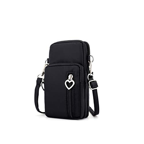 Roomy Travel Small Wristlet Crossbody Bag Cell Phone Purse Wallet Sports Armband Card Pocket for iPhone Xs Max/XR / 8 Plus/Google Pixel 3a / Pixel 3 XL/Xperia XZ3 / XZ2 Premium (Black)