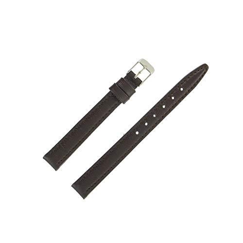 OnWatch - Correa de reloj de 12 mm, color marrón de piel auténtica ecológica, fabricación artesanal