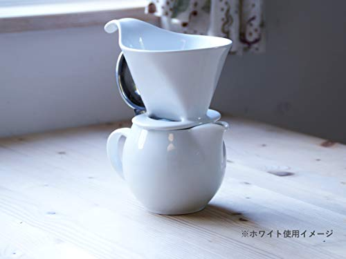 Bee House Ceramic Coffee Dripper - Large - Drip Cone Brewer (White)