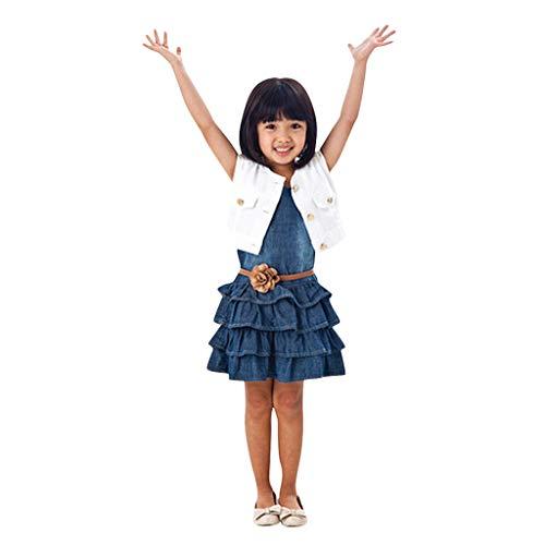 Elecenty Mädchen Prinzessin Kleid,Tutu Kleid Kinder Solide Weste Jeans Kleid Strandkleid Jacke Set Sommerkleid Kleider Kinderkleidung Partykleid Ärmellos Tüllkleid Hochzeitskleid (130, Blau)
