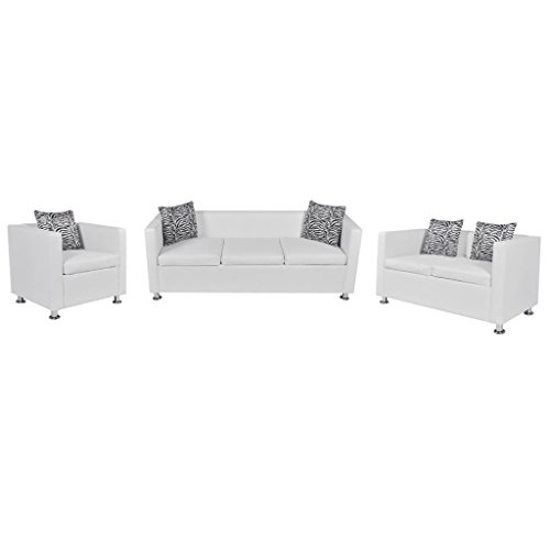 Festnight Sofaset Wohnzimmersofa Couch Loungesofa 3-Sitzer-Sofa 2-Sitzer-Sofa 1-Sitzer-Sessel mit 5 Kissen Weiss