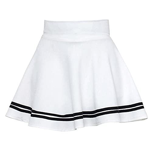 JJZXD Frauen Hohe Taille Feste Farbe Streifen Midi Falten Röcke Mädchen Schwarz Weiß Eine Linie Mini Schulrock Uniform groß (Color : White, Size : S)
