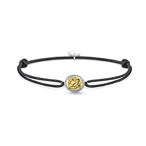 Thomas Sabo Unisex Armband Little Secret Glaube, Liebe, Hoffnung 925 Sterlingsilber, Geschwärzt, 750 Gelbgold Vergoldung, Nylon LS116-543-11