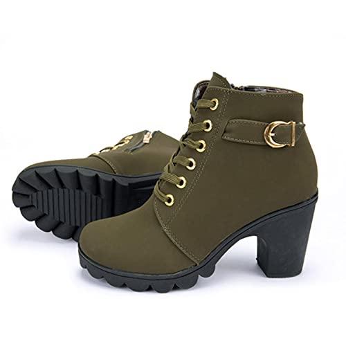 YHCS Nuevo Primavera Invierno Mujeres Bombas Botas Cordones Europeos Zapatos de Damas de la PU Tacones Altos Botas Entrega rápida