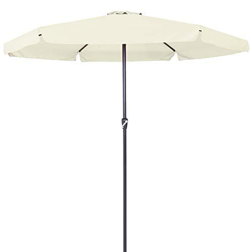 Deuba Kingsleeve Sonnenschirm 330cm Aluminium mit UV-Schutz 40+ wasserabweisend beige - Kurbelschirm Ampelschirm Marktschirm Gartenschirm Terrassenschirm