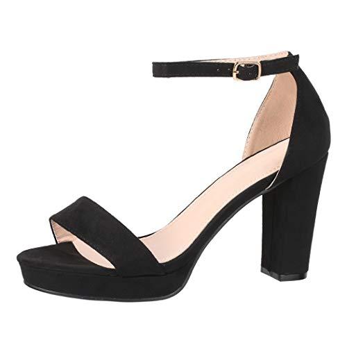 Elara Zapato de Tacón Alto para Mujer Chunkyrayan Negro WW100 Black-38