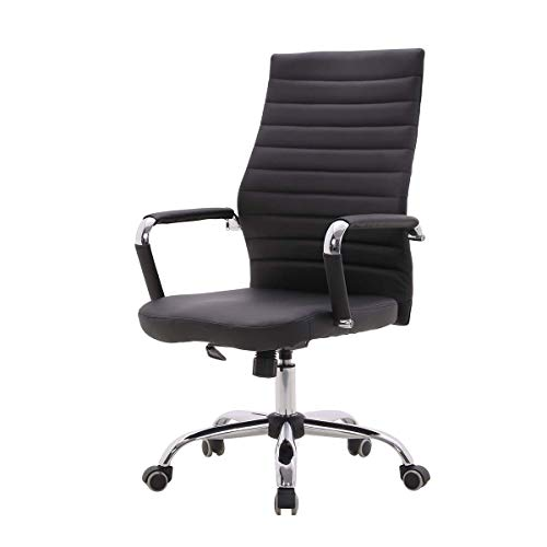 PU Leather Office Chair Ergonomic Desk Chair with Arms Breathable Computer Chair Adjustable Chair with Reclining and Lock Function 360° Swivel Work Chair for Home Office (PU Black)