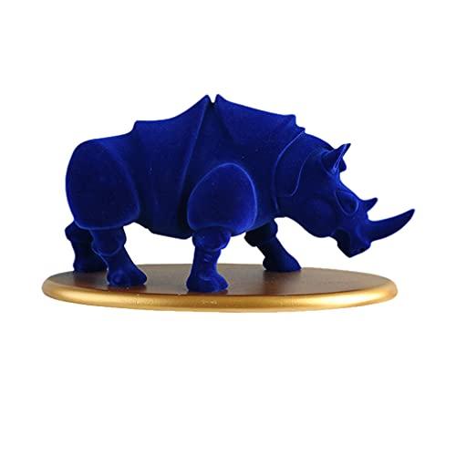 FAVOMOTO Feng Shui Resina Azul Rinoceronte Estatua Vida Silvestre Rino Animal Estatuilla Coleccionable Regalo Bestia Escultura Pisapapeles para La Oficina en Casa DIY Paisaje Decoración