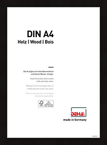 DEHA Holz Bilderrahmen Fontana, 21x29,7 cm (A4), Schwarz
