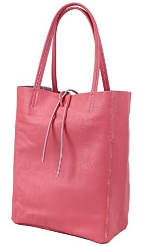 irisaa Bolso de mano para mujer, de piel, Shopper XXL, con bolsillo interior, de Italia, color Rojo, talla Einheitsgröße