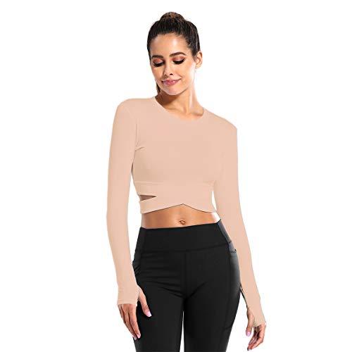 DREAM SLIM Women Long Sleeve Crop Tops Cute Sexy Tummy Cross Yoga Running Gym Shirts with Thumb Holes (Pink Long, S)