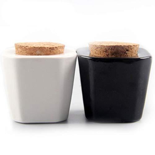 Lurrose 2 Pcs Nail Dappen Plat Avec Couvercle Nail Art Liquide Tasse Avec Bouchon De Liège Manucure Nail Poudre Conteneur De Stockage Pour Salon De Beauté