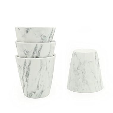 Vitamin M for Living! Unbreakable Reusable  Chic and Elegant  Ceramic Like White Marble Melamine Plastic Cups Set, Set of 4, 8.5oz