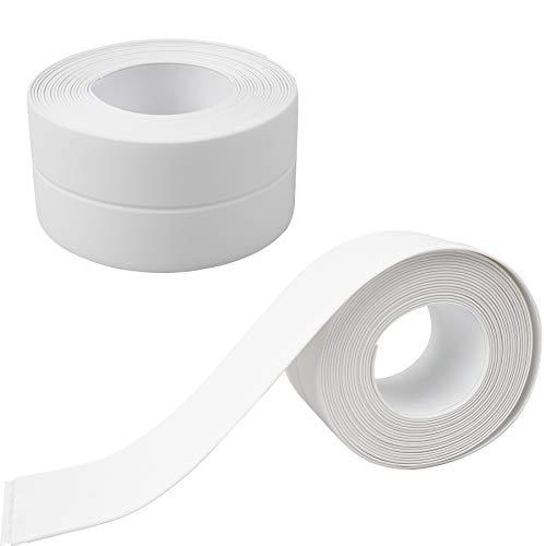 YSDMY 2 Pzs Cinta Selladora de Baño Autoadhesiva PVC 3.8cmx3.2M Cinta de Sellado Impermeable para cocina, esquina de pared y fregadero, etc.
