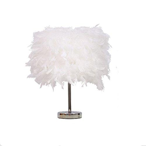 YU-K Élégant et simple lampe chaude plume créative lampe de table chambre lampe de chevet lampes de bureau, 25 CM blanc