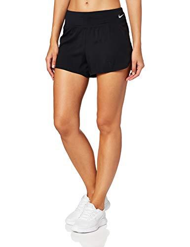 NIKE W Nk Eclipse Short 3in Pantalones Cortos de Deporte, Mujer, Black/(Reflective silv), L