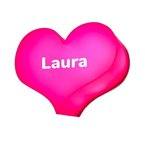 Corazón luminoso LED de plexiglás fucsia 25 x 19 cm y nombre o texto personalizados lámpara decoración casa cartel idea regalo San Valentín enamorados