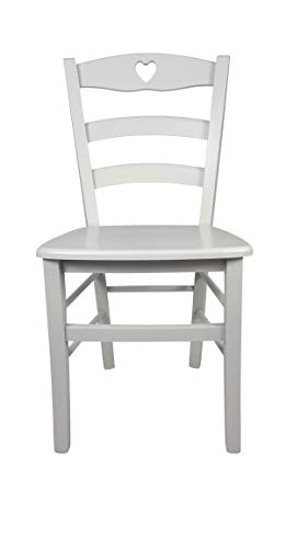 Sedia Cuore, in Legno Massello, Vari Colori e Sedute Disponibili, Alta qualità, Ordine Minimo 2 Pezzi (Laccata Bianca, Massello)