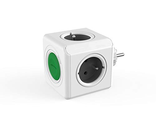 Regleta Cubo Original Switch FR, ladrón con 4 enchufes no superpuestos, Adaptador de Viaje con Interruptor, sin Cable, Estilo Frances de 230 V, Verde/Gris/Blanco