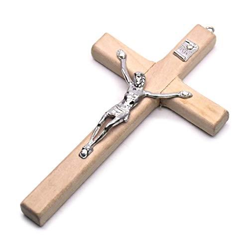 ERUYN 5x Houten Christus Jezus Kruis Lijden Standbeeld Religieus Gebed Kruisbeeld Hanger Beige Wit